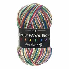 Cygnet Truly Wool Rich 4 Ply Sock Yarn %7c Choice of Multi-Coloured Shades (100g)