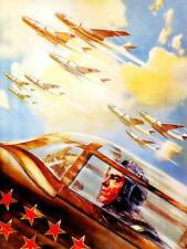 PAINTING WAR MILITARY AIR FORCE SOVIET RED ARMY STAR BOMBER JET PRINT BB8888