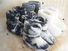 COZY FOOT, Womens/Mens Sheep Wool Sheepskin Slipper Boots Non-slipSOLE Size3-15