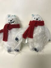 NWT, Set Of Two, Abominable Snowmen Ornaments, Plush Christmas, Holiday