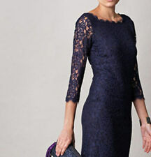 7 COLOURS: Diane Von Furstenberg Zarita Lace Sheath Dress Navy US4/UK8