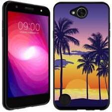 for LG X Charge(Palm on Sunset)Black TPU gel skin phone case cover