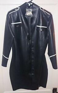 Black Latex Uniform Costume Dress