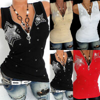 Plus Size Women Sleeveless Slim Vest Zip V Neck Tank Tops Ladies Blouse T-shirt