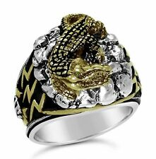 Egyptian  Nile Crocodile  Mens ring        Sterling Silver Emerald Lge.