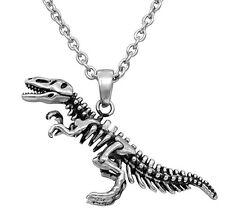 Controse T-Rex Skeleton Dinosaur Bones Stainless Steel Pendant Necklace CN147