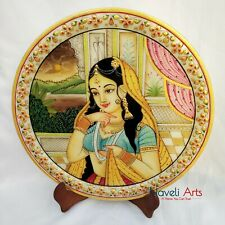 "Decorative plate 12"" Marble Stone Handmade Lady Queen painting Home Decor Wall"