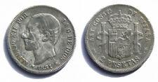 N153 SPAIN 1881*-/81, ALFONSO XII, MSM. 2 PESETAS. 9,84 g. CALICO 28.