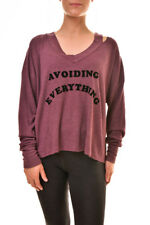 Wildfox Women's Avoiding Everything WTH501 6B6 Sweatshirt Puprle S RRP £80 BCF89