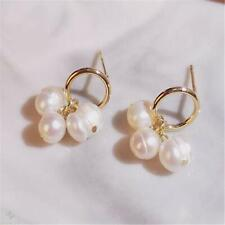 1 Pair White Baroque Pearl Earring 18k Circle Ear Stud Flawless Earbob Real