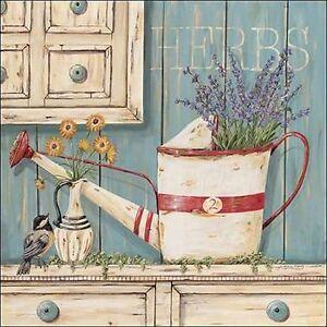 Jo Moulton Herbs Keilrahmen-Bild Leinwand Vintage Stillleben Landhaus Blumen