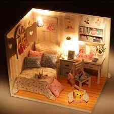 Creative Kits DIY Wood Handmade Dollhouse Bed Miniature With LED+Furniture+cover