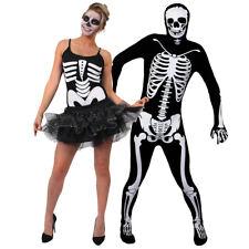 ADULTS HALLOWEEN COUPLE COSTUMES SKELETON TUTU DRESS SKIN SUIT FANCY DRESS