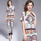 runway womens Elegant print Floral T-shirt Top pants set suit clothes clothing