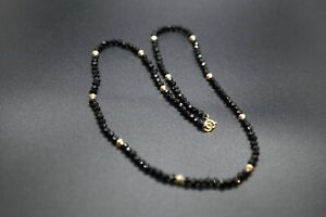 Black Faceted Spinel Beaded Necklace With Gold-filled Bicone Beads 3MM Stacking