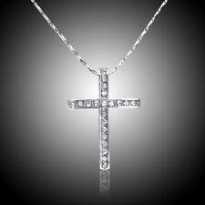 Women's Stainless Steel Cross Rhinestone Pendant Necklace Chain Jewelry Gift