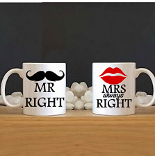 Mr right and Mrs always right mug, wedding,Anniversary, couples personal gift