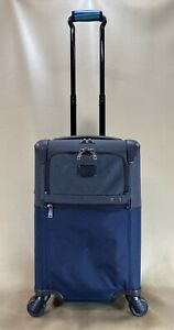 Used Tumi 22060NA2 Alpha 2 Int'l Expandable Spinner Carry on Suitcase Grey/Navy