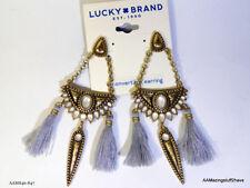 Lucky Brand Gold Tone Reversible Stone & Tassel Chandelier Earrings      NEW $39
