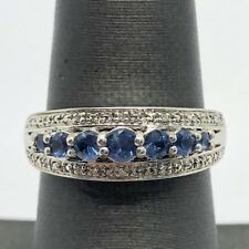 Sterling Silver 925 Blue Tanzanite Triple Row CZ Accent Split Bail Cocktail Ring