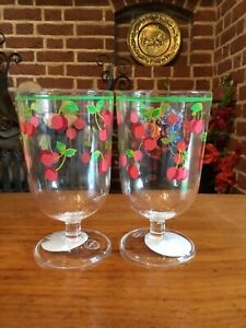 Cath Kidston 2 Cherries Acrylic Wine Glasses Bnwt