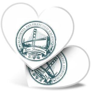 2 x Heart Stickers 7.5 cm - Green San Francisco California USA  #5754