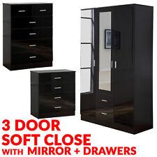 Black HIGH GLOSS 3 DOOR Drawer 3 Piece Wardrobe Bedroom Furniture Set-6&4 Chest