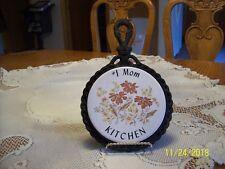 Number #1 Mom Kitchen Vintage Ceramic Wrought Iron Trivet Floral Made In Japan