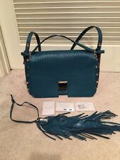 JIMMY CHOO Teal Leather Natural Leopard Print Pony LOCKETT XB Shoulder Bag $2695
