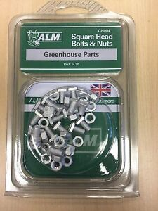 GREENHOUSE SQUARE HEAD BOLTS AND NUTS 20 PER PACK GH004