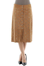 DROMe New Woman CAMEL Brown Studded Suede Goat Leather Wrap Skirt Size S $788