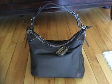 Dooney & Bourke Erica Brown canvas Leather trim Shoulder Hobo Bag