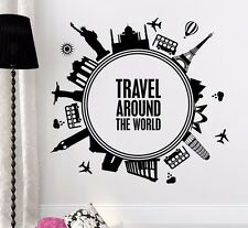 Quotes Wall Decals Travel Around The World Decal Nursery Home Decor Vinyl 688