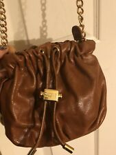 Badgley Mischka Genuine Leather Brown Golden Hardware Small Shoulder Cross Body