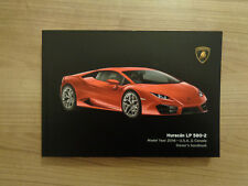 Lamborghini Huracan LP 580-2 Owners Handbook/Manual U.S.A Canada Version