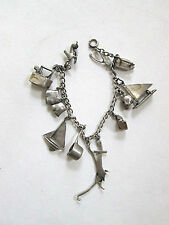 Vtg sterling silver charm bracelet sailboat iron wishbone shoe skull pot pliers