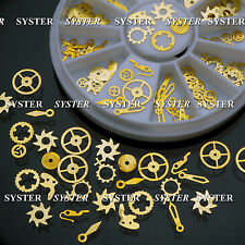 120 pcs Gold Studs 3D Nail Art Decorations Time Wheel DIY Nail Gear Parts SB-141