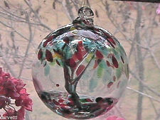 "Hanging Glass Ball 4"" Diameter ""Summer Tree"" Witch Ball (1) GB3"