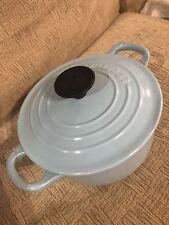 Le Creuset Cornflower Blue Casserole Dish. Pale Light Powder Baby Cast Iron 16