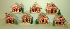 10 vtg old CHRISTMAS Village Houses putz marked JAPAN & TAIWAN small size