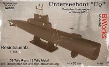 "RESIN Unterseeboot ""U9"" Klasse 205 1:144 42 Teile, Decals SELTEN"