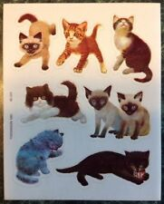 Vtg 80s 1981 DenniSon Sticker Sheet~Cat~Kitten~Kitty~Fe line~Siamese~Tiger~Stripe