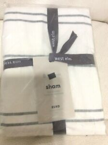 West Elm Hemp Cotton Serene Stripe Euro Sham Natural & Misty Gray NWT!