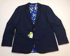 $598 Robert Graham Men Wool Sport Coat Tuxedo Jacket Blazer Classic-Fit 48 Navy