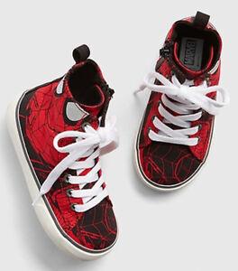 Baby Gap NWT Marvel Spiderman Red Hi-Top Sneakers Tennis Shoes 5 6 7 $40