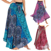 Summer Hippie Bohemian Gypsy Boho Flowers Elastic Waist Floral Halter Long Skirt