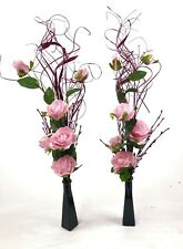 Set of 2 PINK rose flower displays  in GLASS vases - wedding tables