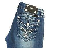 MISS ME Women's Dark Wash Distressed Embellished Boot Cut Jeans 25 x 32