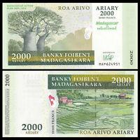 Madagascar 2000 Ariary Banknote, 2007, P-93, Commemorative, UNC, Paper Money