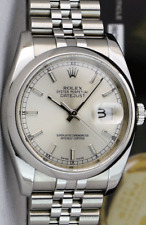 ROLEX 36mm Mens Stainless Steel DATEJUST Silver Index Dial 116200 SANT BLANC